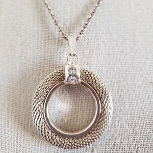 Round Textured Woven Circle Pendant Necklace